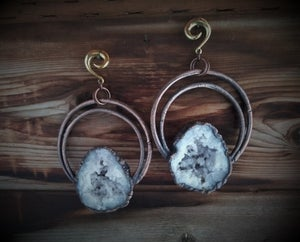 Image of Large Electroplated Geode Ear Weights