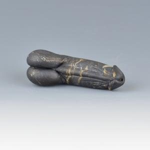Image of Black Marble Phallus Charm Bead - Flamework Glass Sculpture Bead