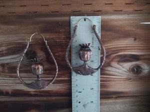 Image of Electroplated Real Poppy Pod Hoops 1