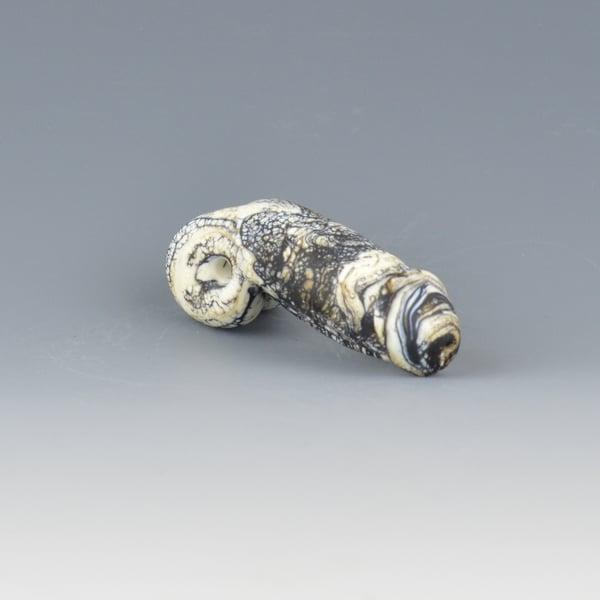 Image of Ebony Ivory Dark #1 Phallus Charm Bead - Flamework Glass Sculpture Bead