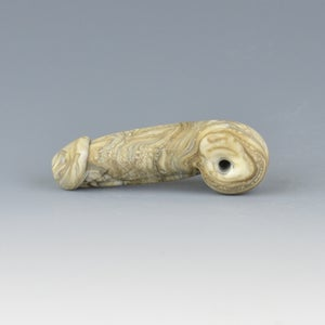 Image of Dark Fossil Phallus Charm Bead - Flamework Glass Sculpture Bead