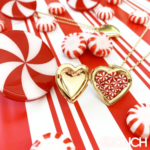 Image of Peppermint Heart Locket (18K Gold Plated)
