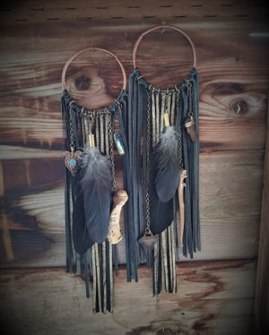 Image of Black and Gold Leather Fringe Hoops with Witchy Goods for Gauged Ears