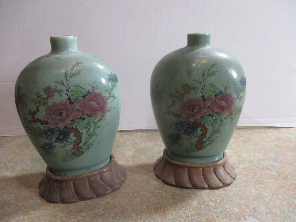 Hand-Painted Pair of Asian Vases on stands Made for Export in the Early 1900s