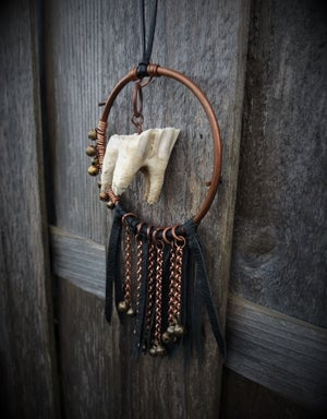 Image of Cow Tooth Leather Fringe Necklace with Bells