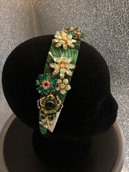 Image of Green Jewel Floral Jacquard Headband