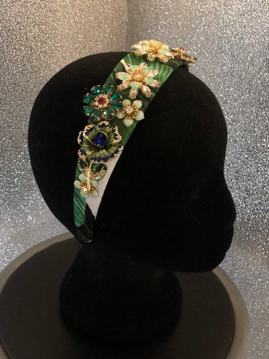 Image of Green Jewel Floral Jacquard Headband