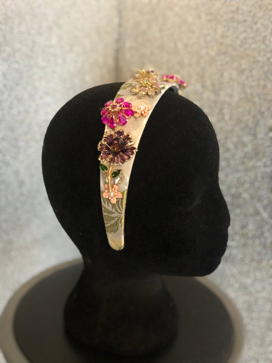 Image of Silver/Pinks Jewel Floral Jacquard Headband