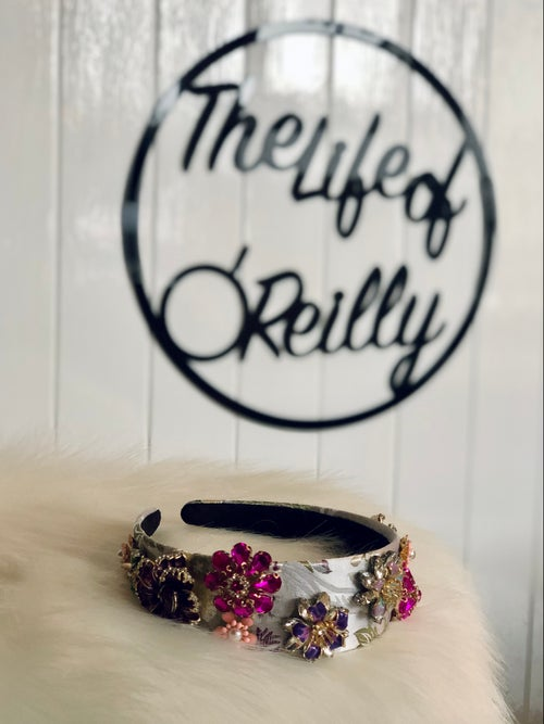Image of Silver/Pinks Jewel Floral Jacquard Headband