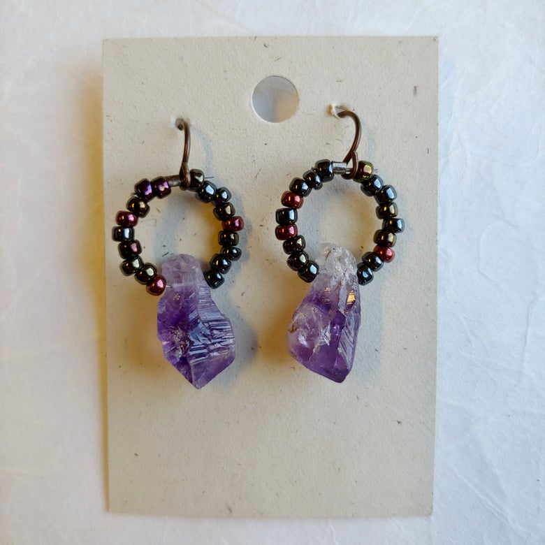 Image of Iridescent Circle and Amethyst earrings