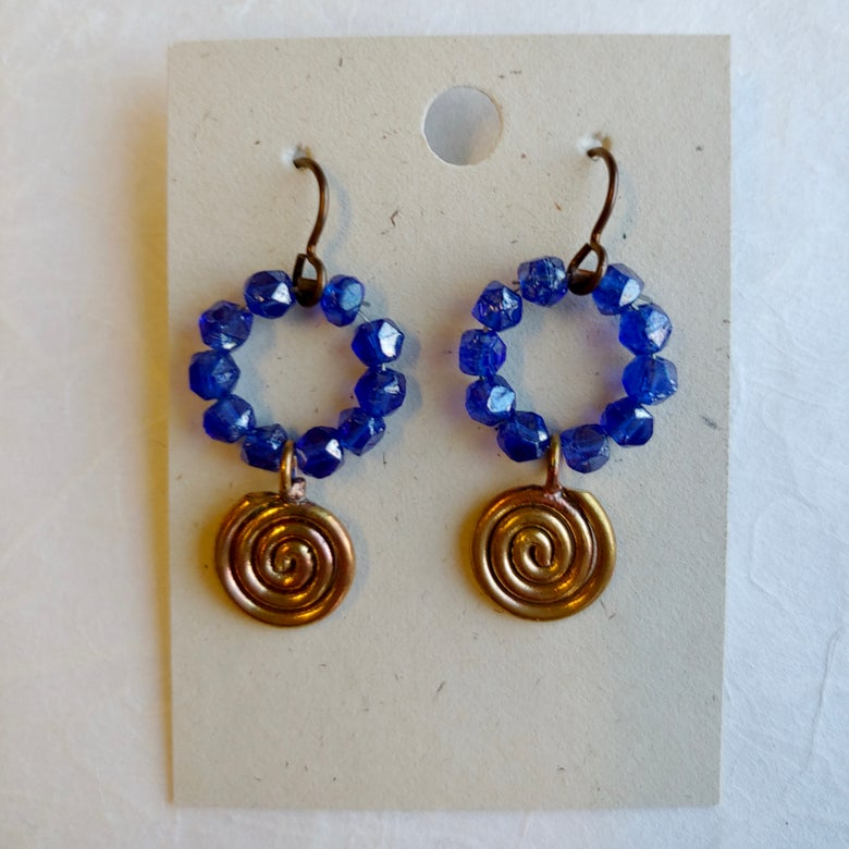 Image of Blue Circle and Spiral earrings