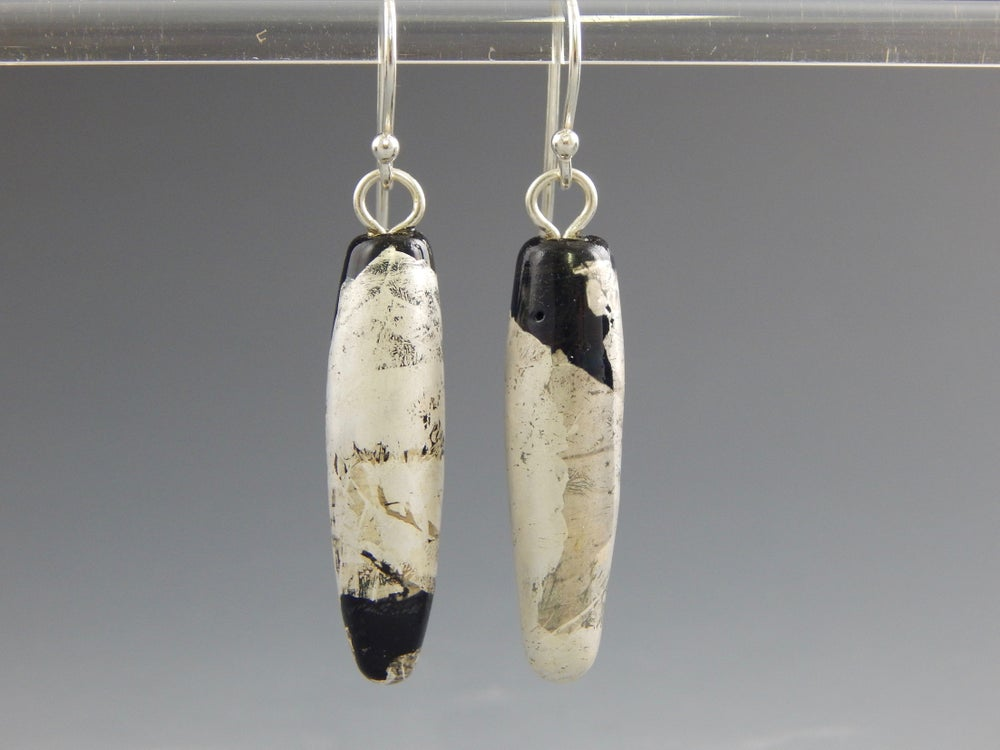 Image of Artisan Glass • Drop Earrings with Silver Leaf