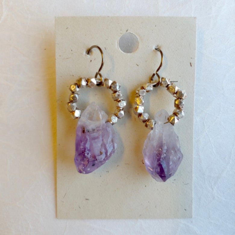 Image of Circle with Amethyst earrings