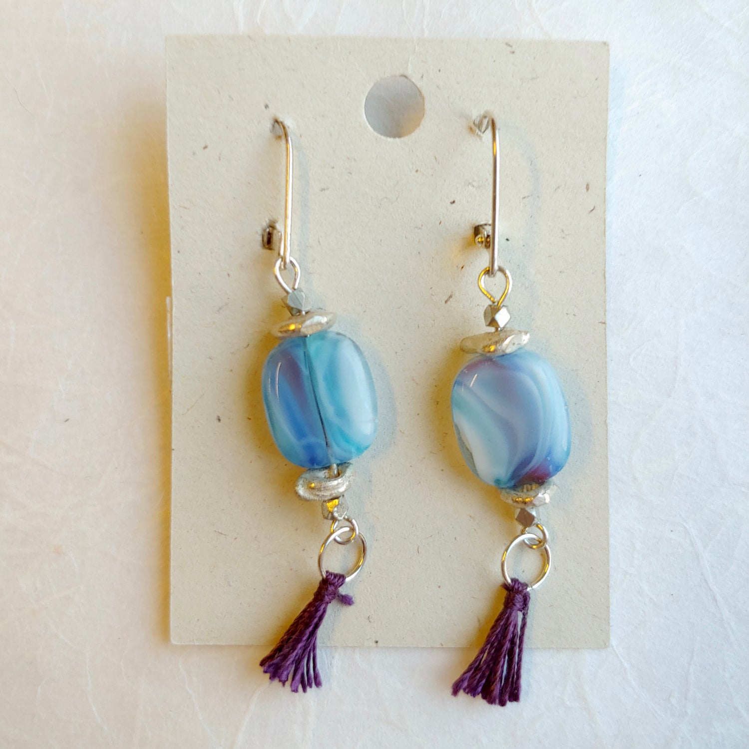 Image of Blue Lavender Beads with Silk Tassel earrings