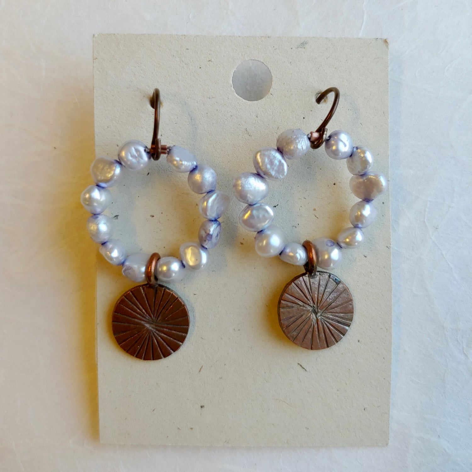 Image of Pale Blue Pearl and Copper earrings