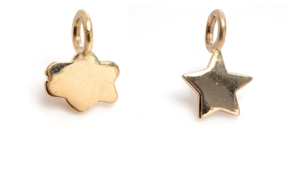 Image of 14kt Gold Mini Cloud & Mini Star Charms