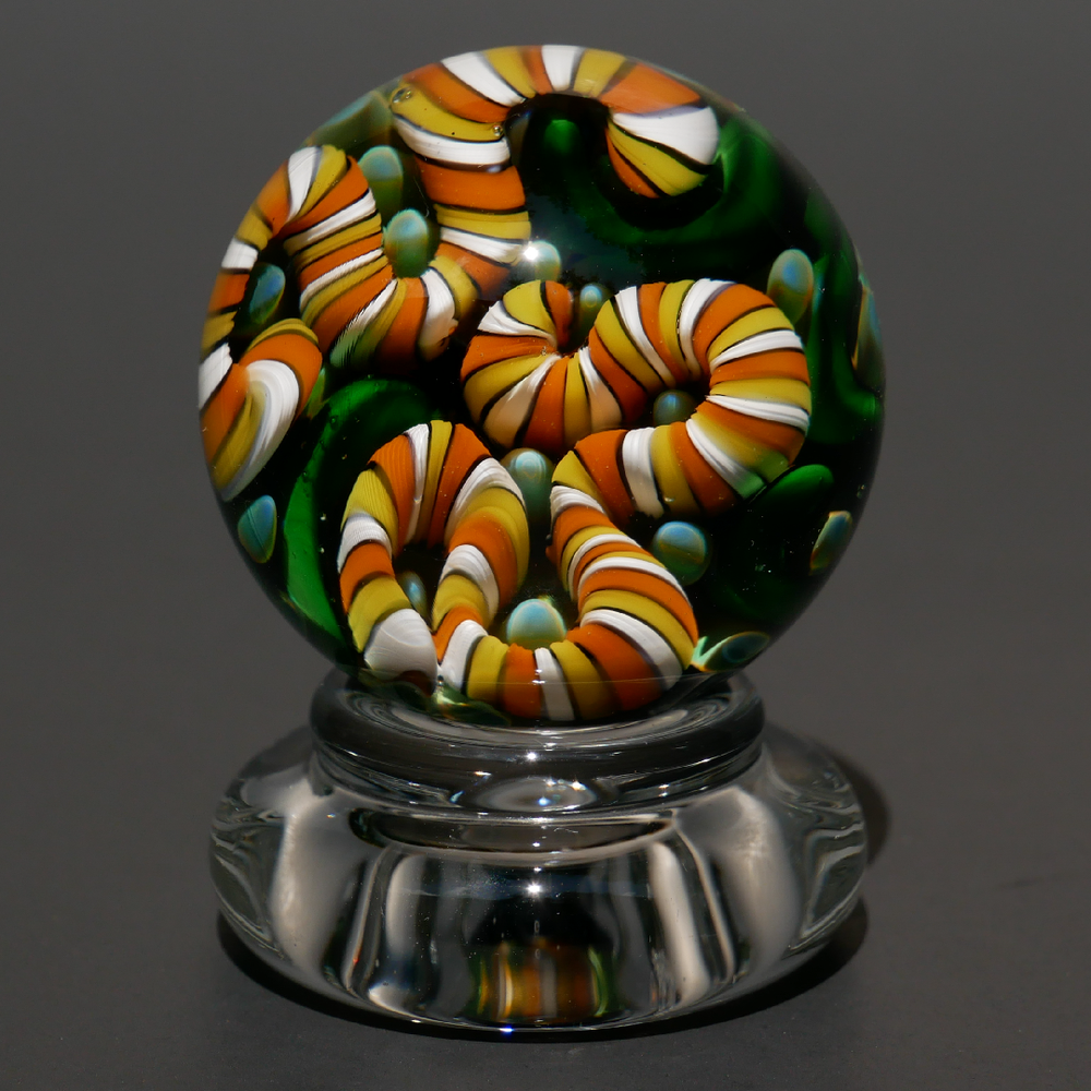 Image of 33mm Autumn Implosion Marble with Stand