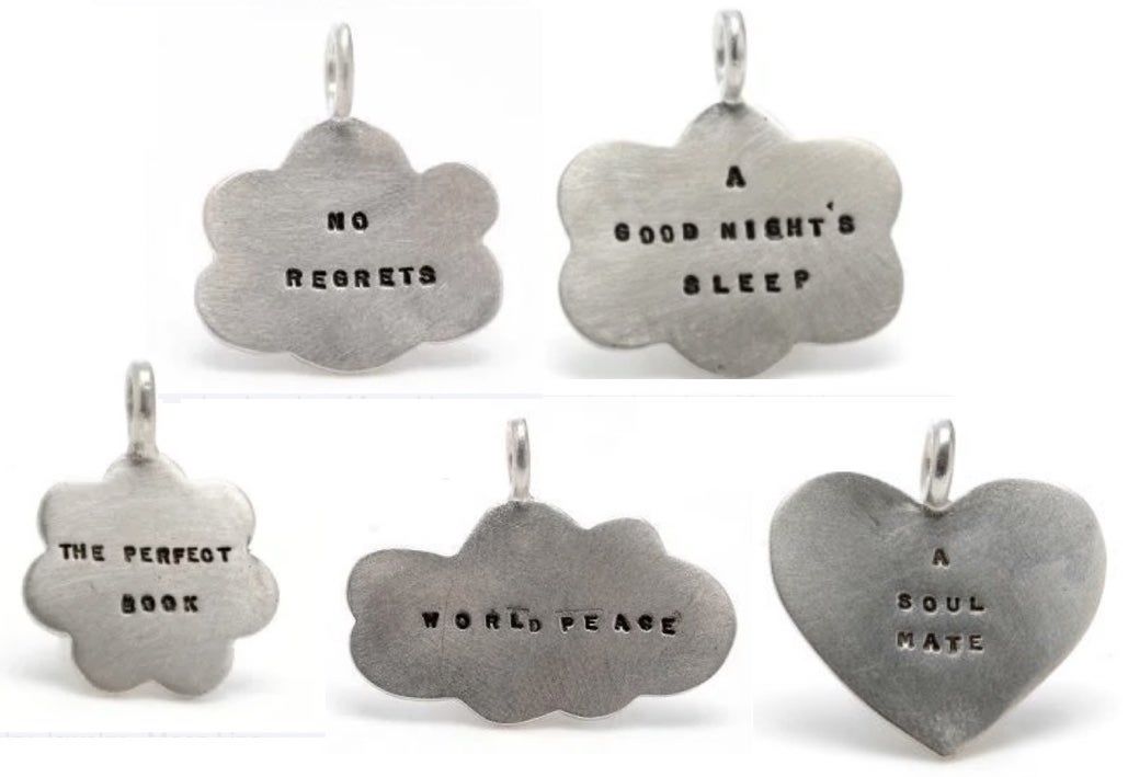 Image of Silver charms (No Regrets, A Good Night's Sleep, World Peace, The Perfect Book, A Soul Mate)