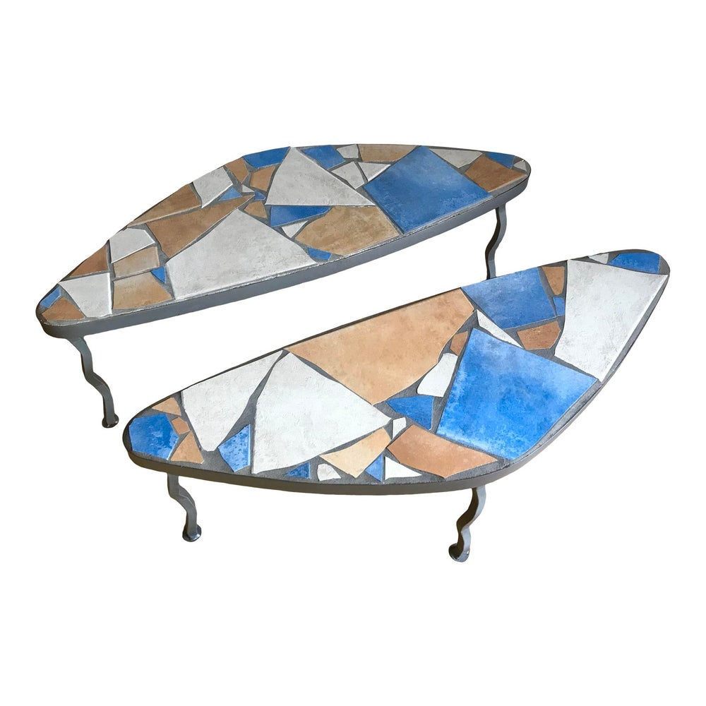 Image of Was $1650 Mid Century Post Modern Italian Tile Mosaic Terrazzo + Steel Biomorphic Amoeba Side Tables
