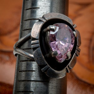 Image of Vintage Navajo Sterling Silver Ring Pink Amethyst stone by Silversmith Irv Monte Size 8.5