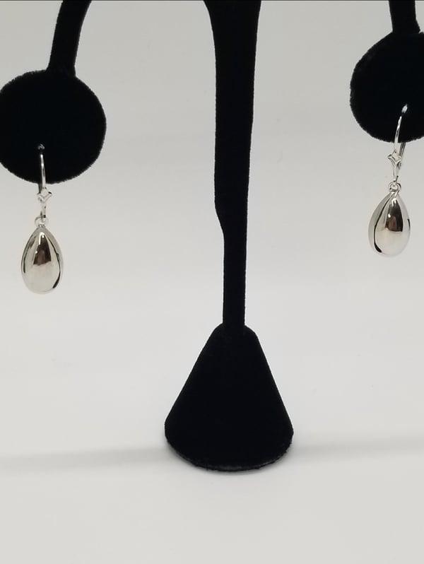 Image of White Gold Teardrop Earrings