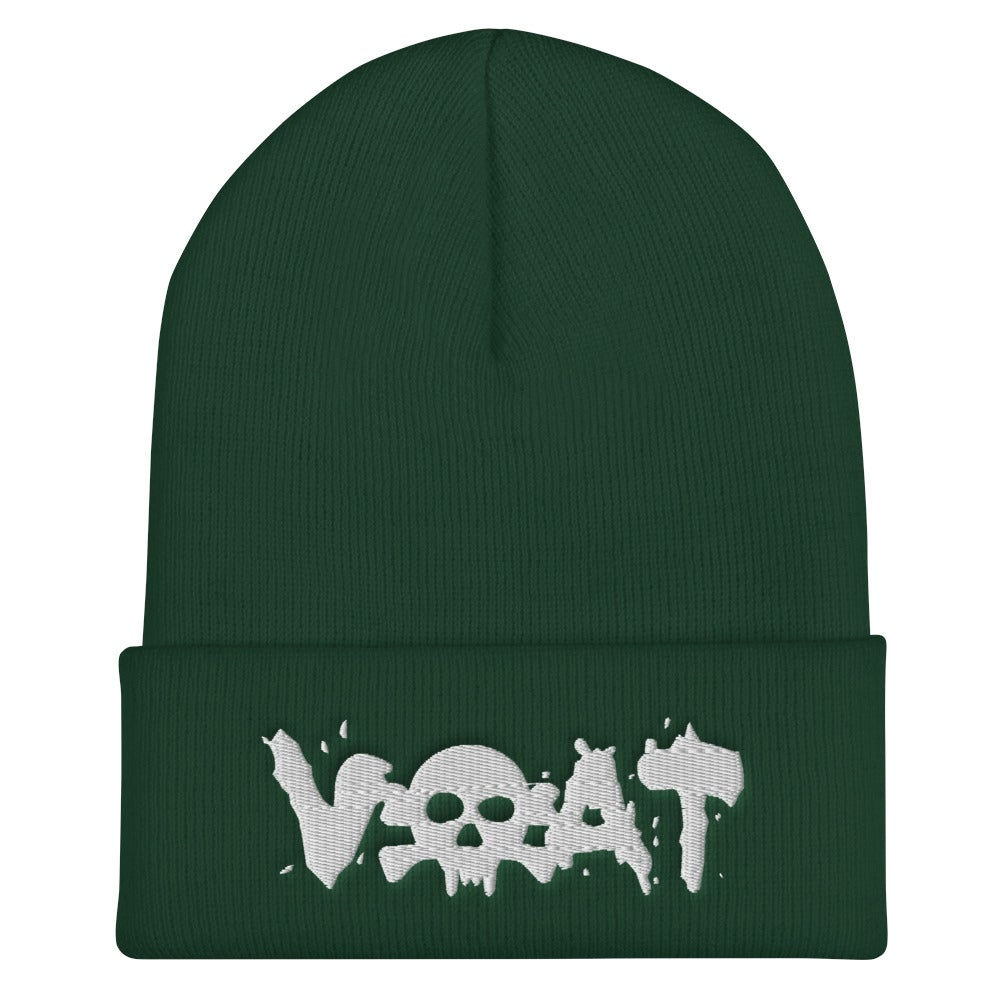 Image of (click for color options)VOAT WHITE SKULLTEXT Beanie