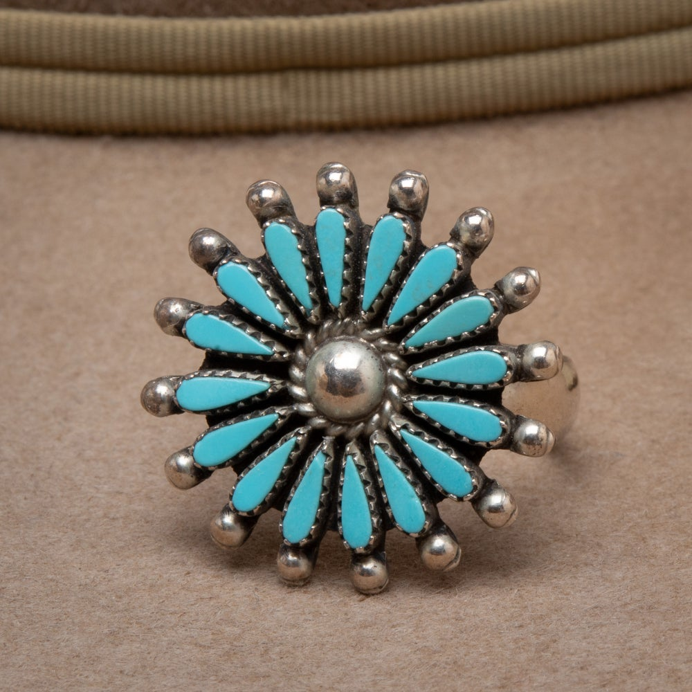 Image of Vintage Zuni Petit Point  Starburst Flower Ring signed by Zuni Silversmith Siow, size 7