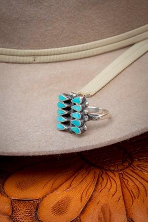 Image of Vintage Zuni Dishta Style Ring by Zuni Silversmith.   Size 6.5