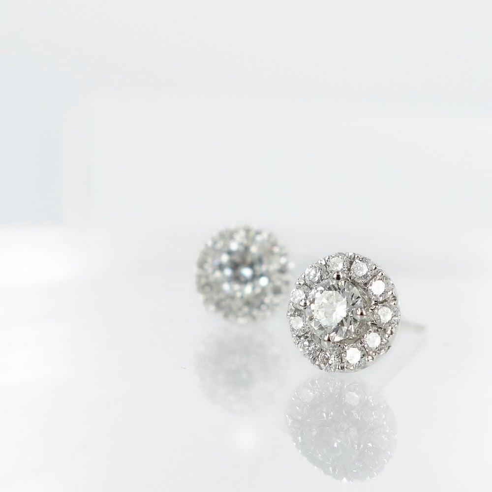 Image of 18ct White Gold Cluster Diamond Earrings. Pj5755