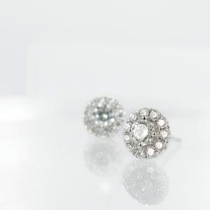 Image of 18ct White Gold Cluster Diamond Earrings. Pj5837