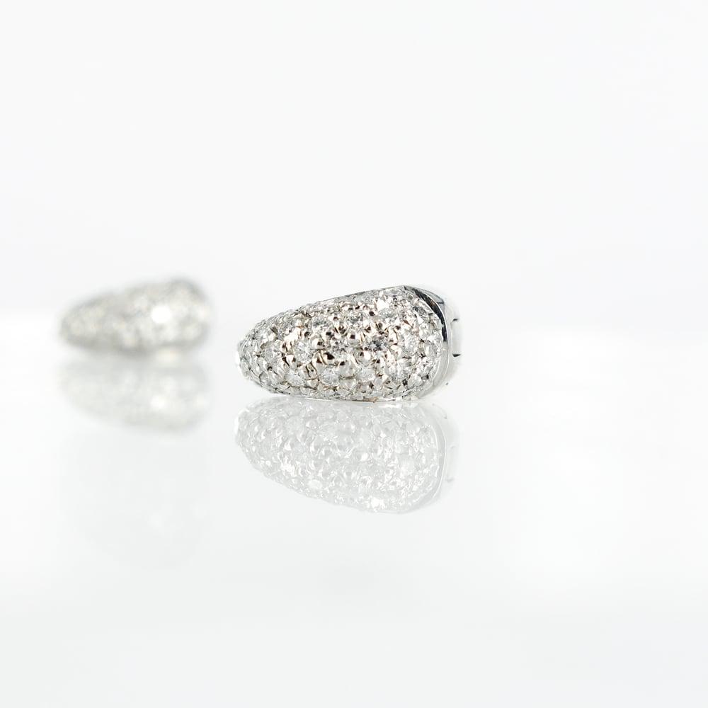Image of Elegant 18ct white gold pave set huggie earrings. Pj4906