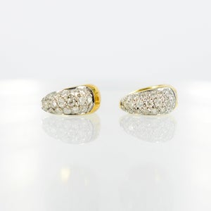Image of Stunning 18ct yellow & white gold pave set diamond huggie earrings. Pj5270