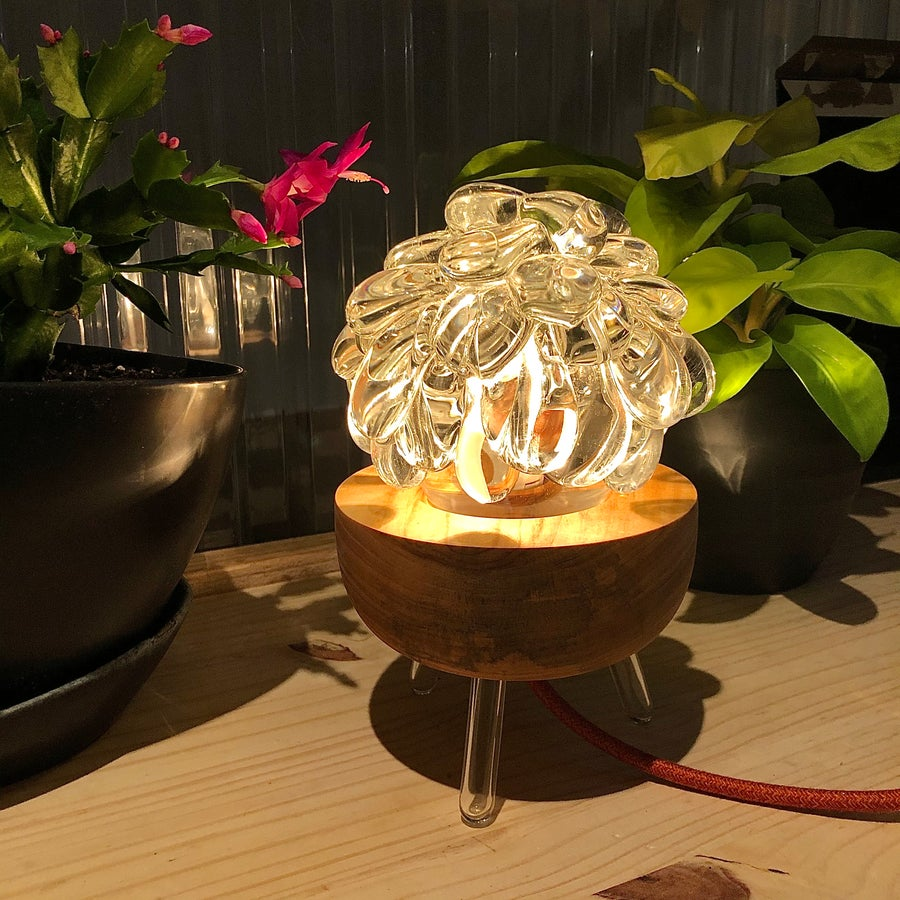 Image of Tripod Blob Lamp w/ Orange Mini Tweed Cord