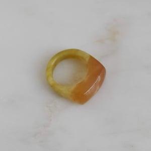 Image of Natural Vietnam Green Yellow Brown Agate rectangular ring