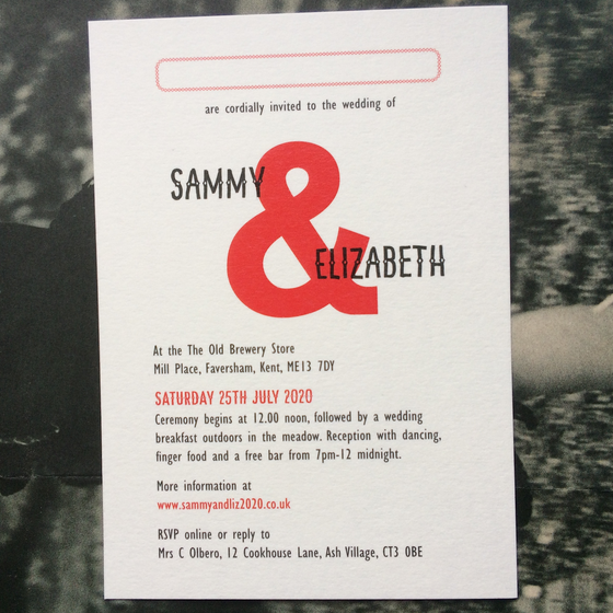 "Image of A6 Wedding invites, ""Sammy"" Design, matte card - Sample"