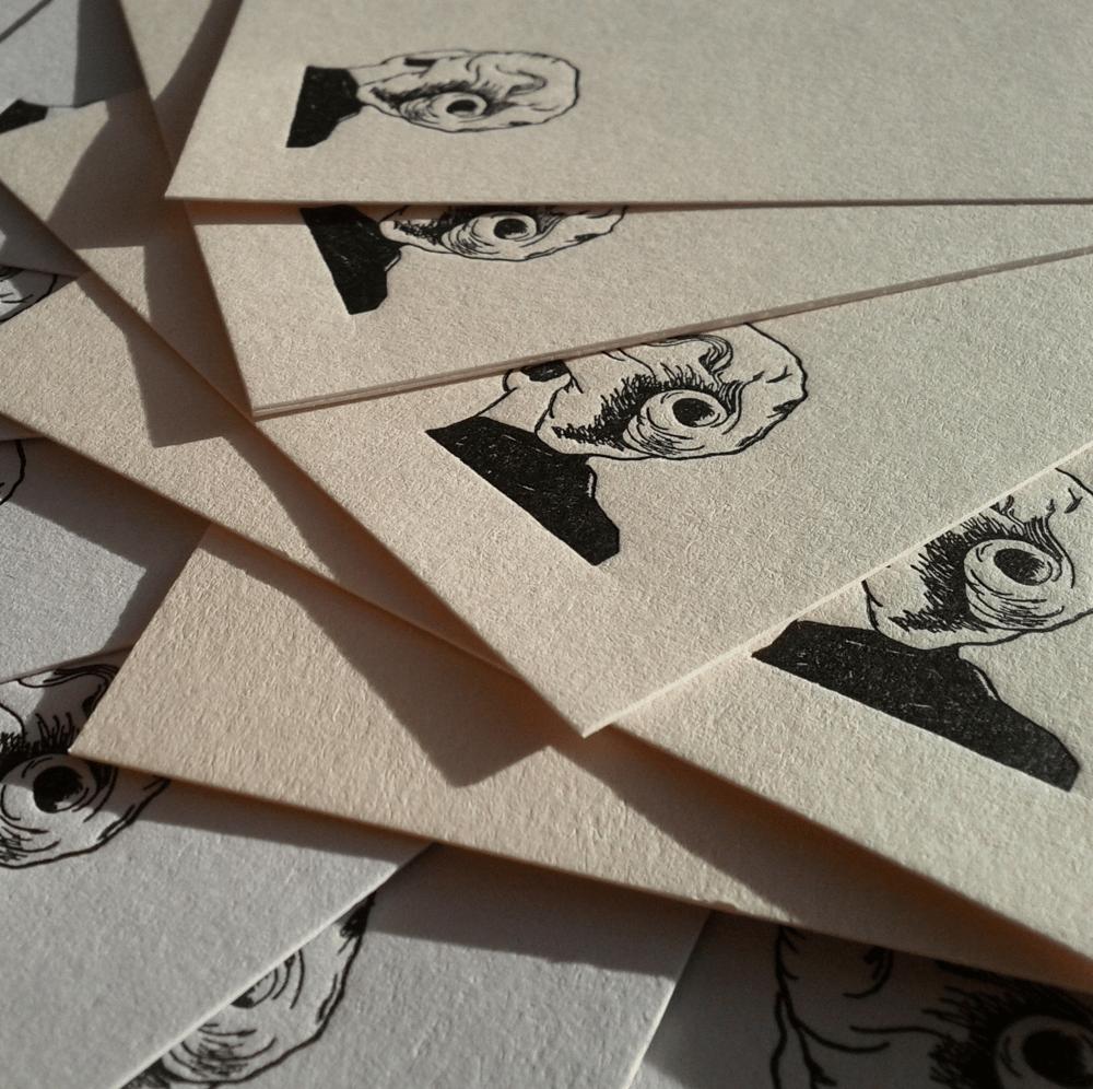 Image of Letterpress Notecard Set, Vertigo design, set of 6
