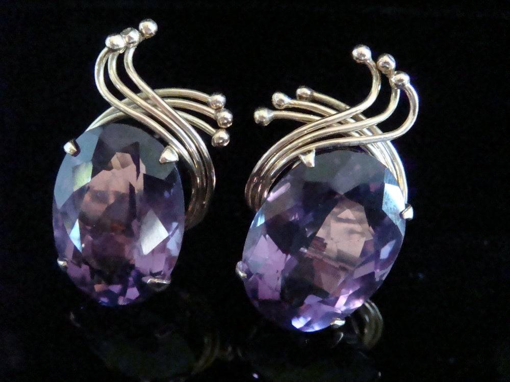 Image of 1960s HUGE 18CT YELLOW GOLD LARGE AMETHYST EARRINGS 32 CARATS 20g