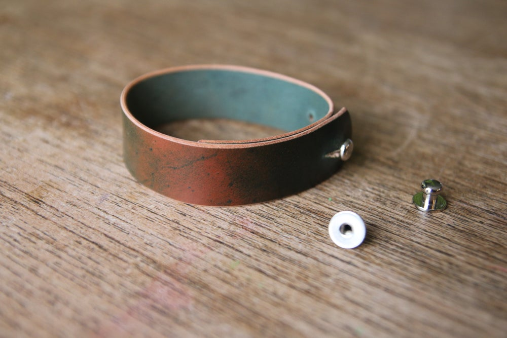 Image of Horween Marbled Black Shell Cordovan Button Stud Watch Strap