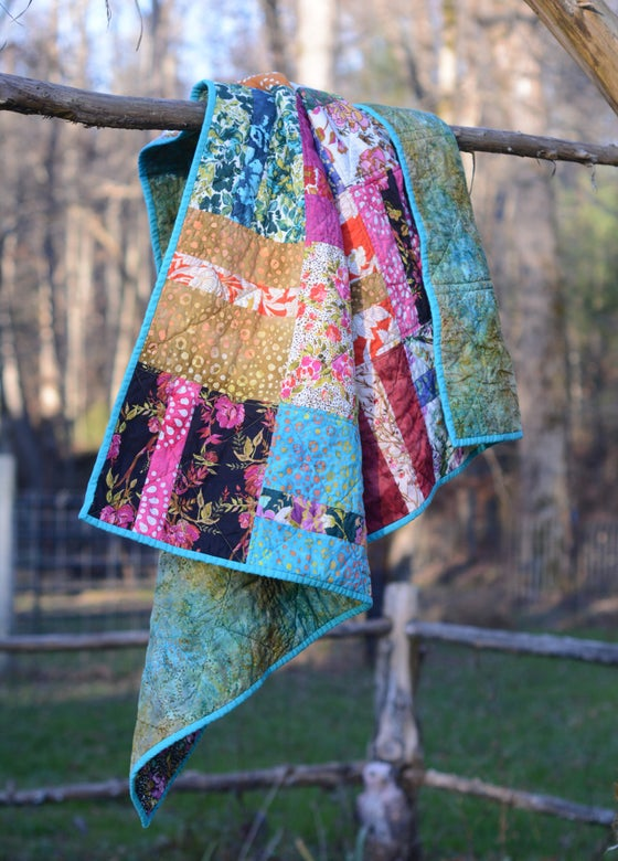 Image of Boho Quilt, Throw Quilt, Toddler Quilt, Baby Quilt, Colorful, Wild, Bohemian Style