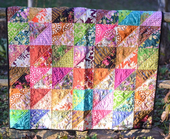 Image of Batik Boho Quilt, Baby Quilt, Toddler Quilt, Throw Quilt, Bohemian Style, Half-Square Triangles