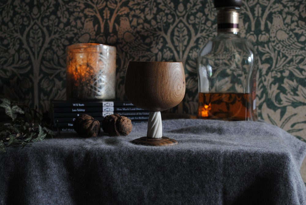 Image of Oak whisky cup with antler stem