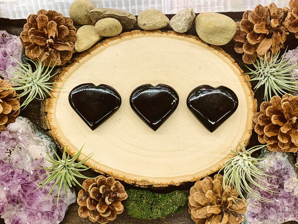 Image of Hand Carved Black Tourmaline Hearts