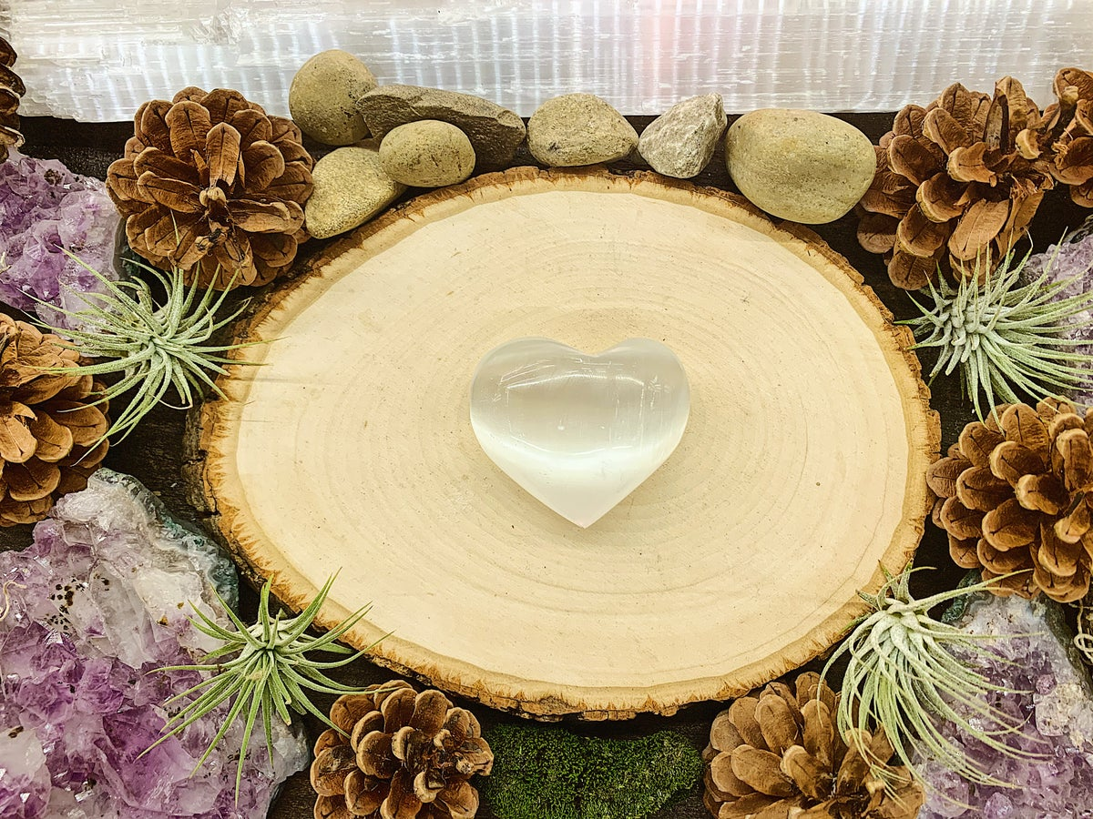 Image of Hand carved Selenite Heart