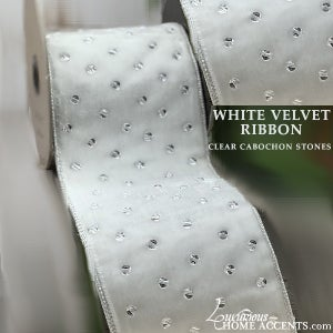 Image of White Velvet Holiday Ribbon with Clear Cabochon Stones