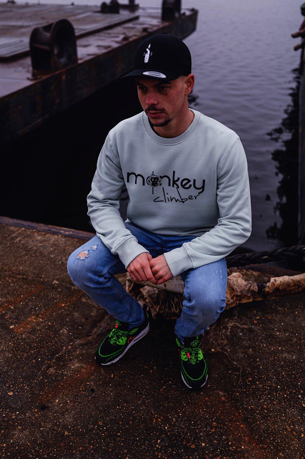 Image of Monkey Climber Front Cover crewneck I Aqua Green