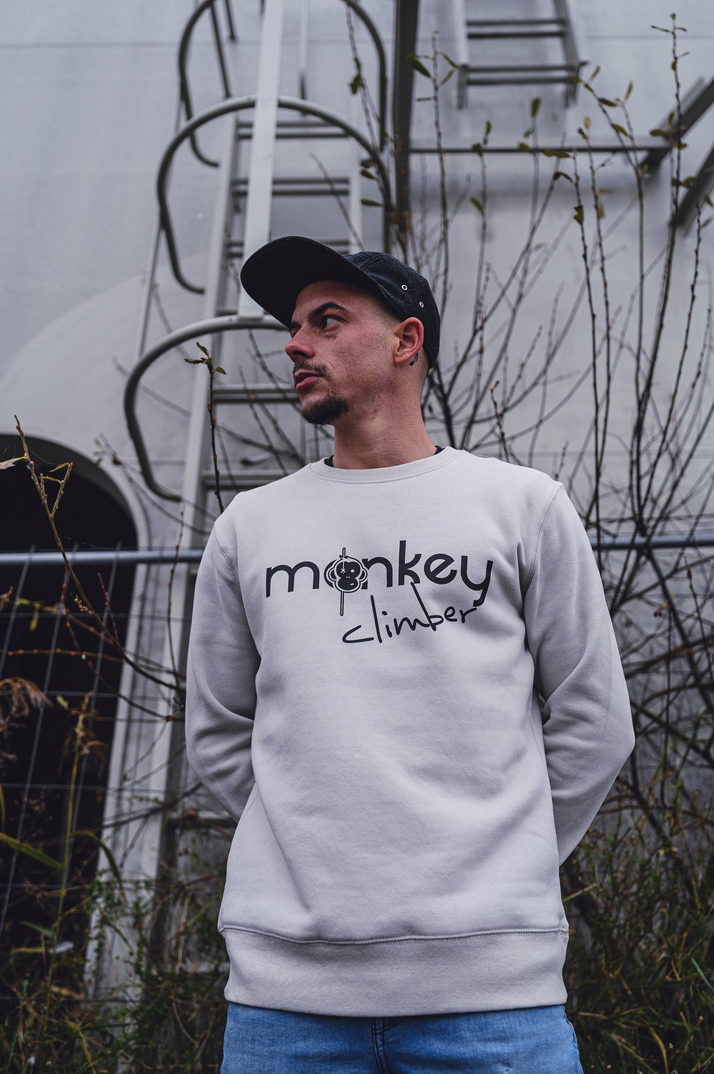 Image of Monkey Climber Front Cover crewneck I Grey Fog