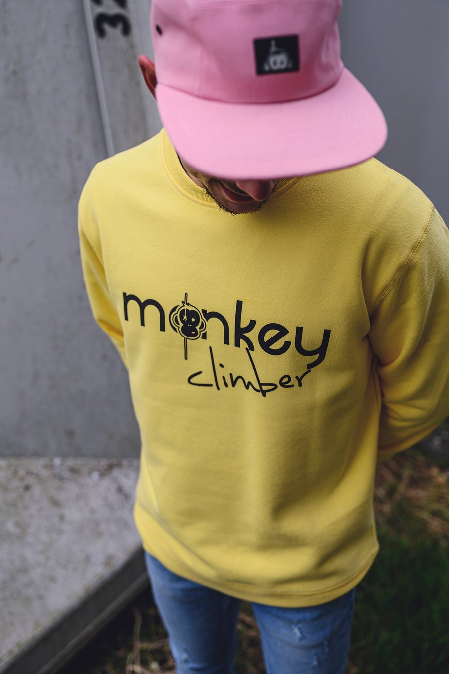 Image of Monkey Climber Front Cover crewneck I Yellow Fizz