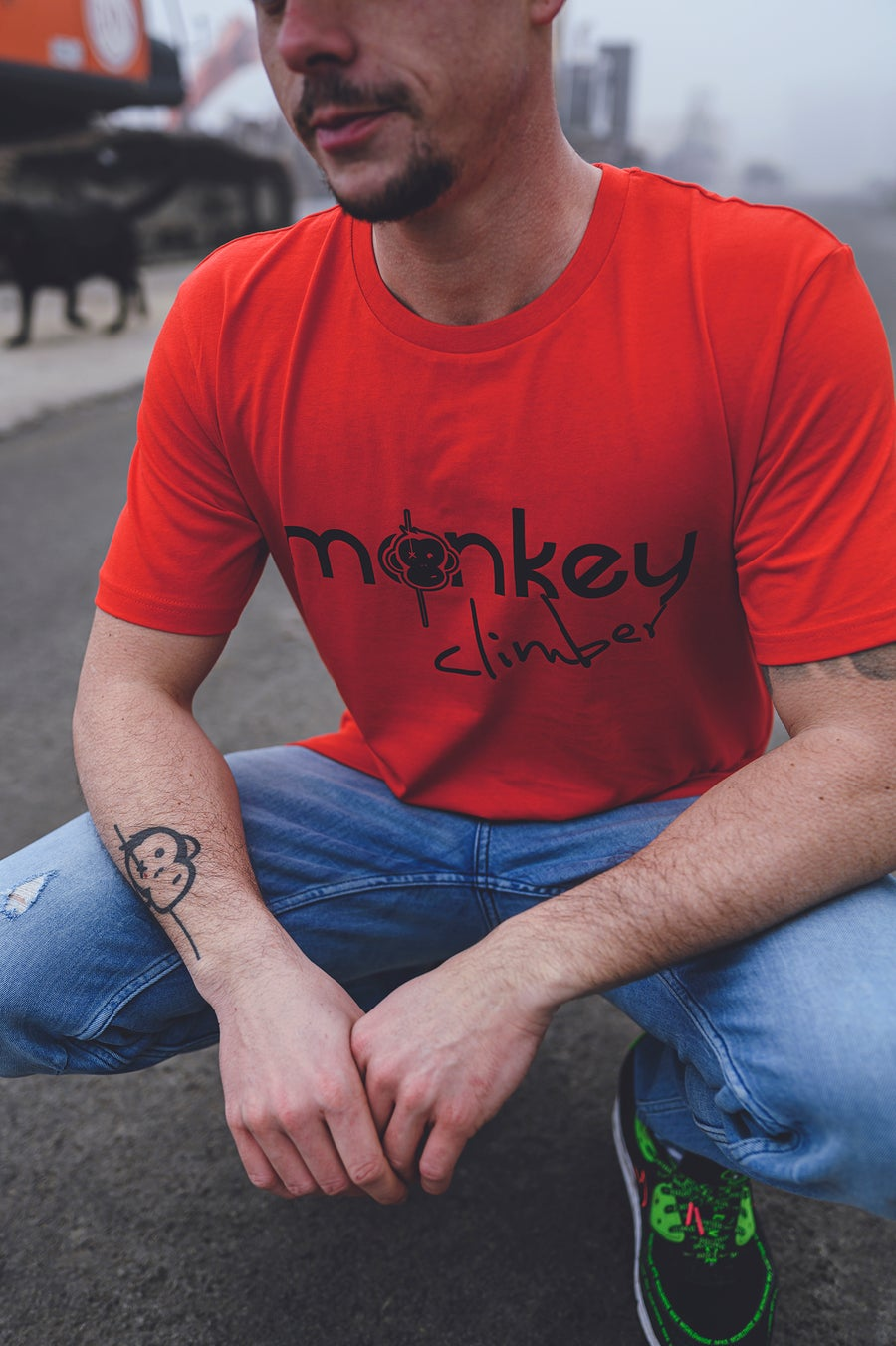 Image of Monkey Climber Front Cover shirt I Deep Red