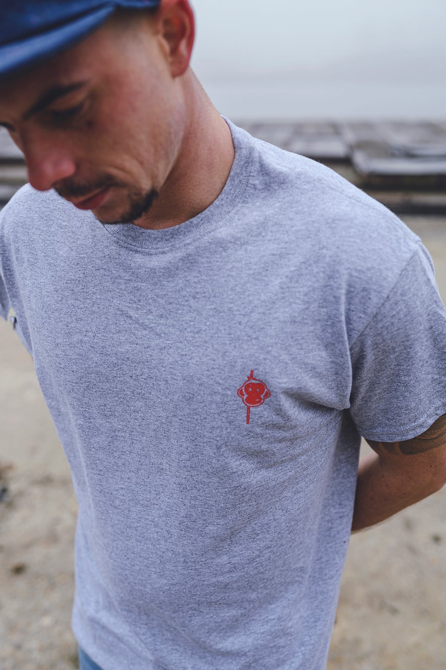 Image of Monkey Climber Red Logo Minimal Tee I Heather Sports Grey