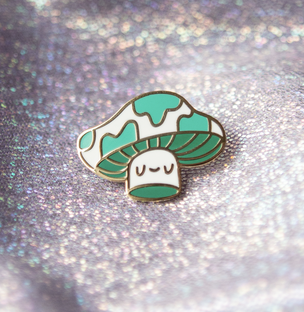 Image of Green Shroom Baby Enamel Pin